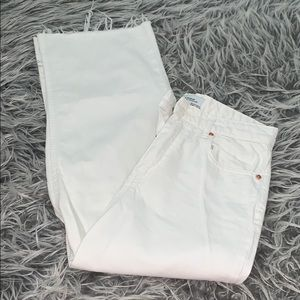 Off white cropped wide leg jeans